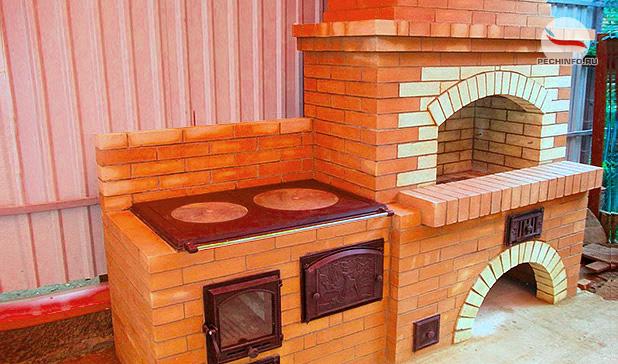 Печь с мангалом и барбекю дачная своими руками 34