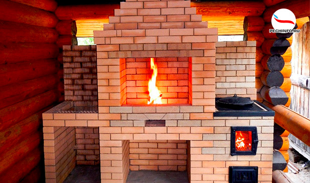 Большая кирпичная печь с плитой и камином