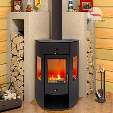 Металлическая печь-камин в интерьере дома