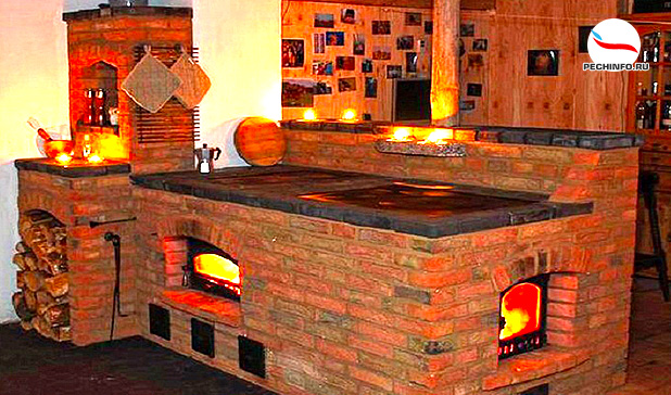 Кирпичная печь в интерьере дома