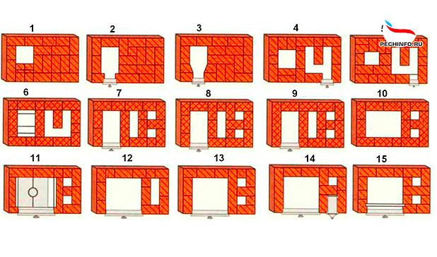 Порядовка кирпичной печи 1-15 ряды