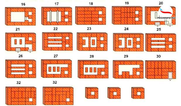 Порядовка кирпичной печи 16-32 ряды