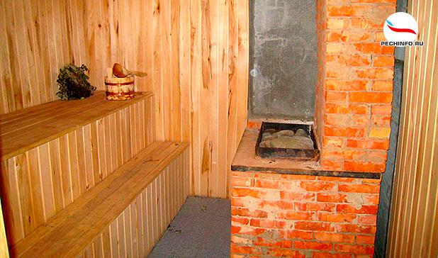 Расположение кирпичной печи в бане