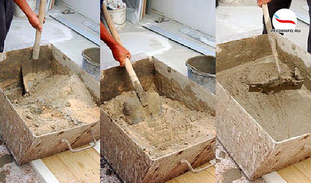 Замес глины для кладки печи